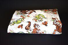 Sweet Squirrels & Ladybirds Fabric Remnant - Vintage Retro Children's Nursery Animal Ladybug Print Material