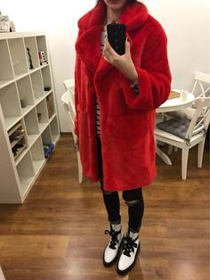Christmas red faux fur jacket