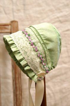 Silk and lace baby bonnet-- infant photo prop, vintage inspired bonnet, layette, baby hat, newborn bonnet , baby clothes. $35.00, via Etsy.