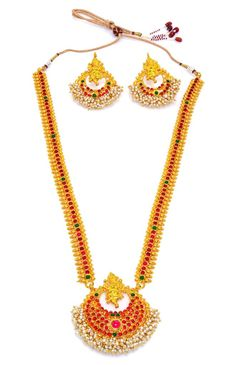 Product information: Artfully designed, these necklaces add a hint of raw ethnic beauty to any look from house of Alankruthi SKU Color Gold Occasion we 1 Gram Gold Jewellery, Temple Jewellery, Gold Jewelry, Necklace Set, Pearl Necklace, Gold Plated Necklace, Golden Color, Fashion Jewellery, Ethnic Jewelry