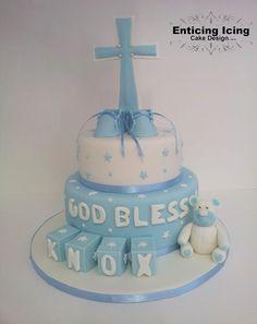 Baby boy christening, block, bear, booties and cross cake. God bless 2 tier fondant.