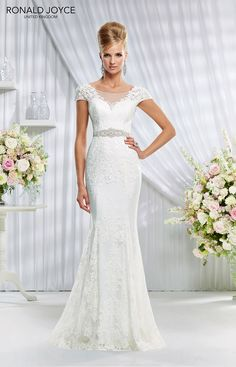 Stunning lace layered mermaid cut dress with sweetheart Illusion Neckline - Perfect shape for mature brides