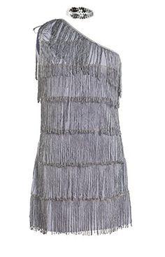 4c1246a575caa5 20s Flapper Fancy Dress Ladies 1920s Black Charleston womens costume 8 10  12 (Women: 8): Amazon.co.uk: Toys & Games