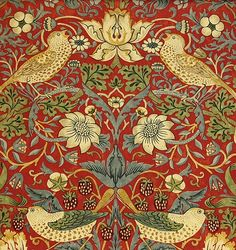 Strawberry Thief from the Archive Collection by William Morris. A classic William Morris floral and bird design in red with slate, beiges and golds. William Morris Wallpaper, William Morris Art, Morris Wallpapers, Motifs Art Nouveau, Pattern Texture, Motifs Textiles, Art Japonais, Pre Raphaelite, Motif Floral