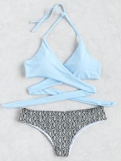 Snake Print Halter Wrap Knotted Back Bikini Set