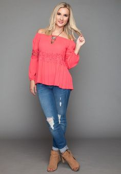 CRAZY FOR YOU IN CORAL TOP