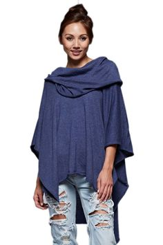 Lovestitch Women's Knit Poncho Indigo -- Awesome products selected by Anna Churchill