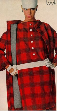 Marisa Berenson in a plaid double-faced wool coat and dress by Monte-Sano & Pruzan, photo by Irving Penn for Vogue, 1966