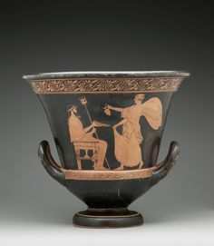 Artist: Aegisthus Painter, Greek, Attic, ca. 480 - 460 Red-figure Calyx Krater; A: Nike and Poseidon; B: Woman and Old Man ca. 470 B.C. Terracotta, red-figure