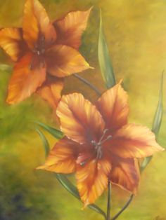 Beautiful 40x30 Lillies on wrapped canvas with by ArtByDoodles, $250.00