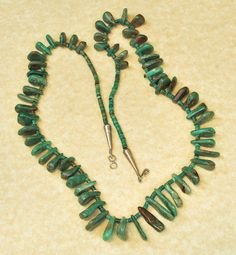 Vintage Old Pawn Navajo Tomahawk Turquoise Polished Nugget Necklace