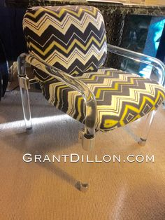 Newly upholstered signed Jeff by GrantDilloncom on Etsy Lucite Chairs, Unique Vintage, Home Furnishings, Chrome, Unique Jewelry, Handmade Gifts, Decor Ideas, Etsy, Furniture