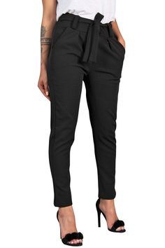 c192c2fed1 Womens High Waist Harem Bandage Elastic Slim Straight Leg Stretch Casual  Pants with Pockets Black