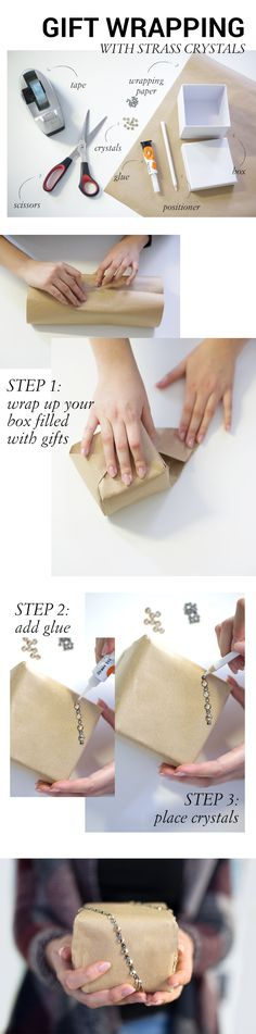 a DIY instruction on how to wrap your presents and add some sparkle to it Swarovski, Christmas Wrapping, Diy And Crafts, Blog, Presents, Sparkle, Gift Wrapping, Crystals, Gifts