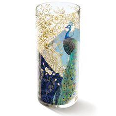 Fringe Studio Heather Peacock Vase - Transferware art glass vase.