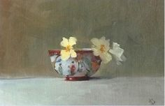 HELEN SIMMONDS, 'COSMOS AND CHINESE BOWLS', OIL ON GESSOED PAPER, 16 X 23 CM
