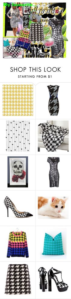 """""""Houndstooth"""" by acidpixie1 ❤ liked on Polyvore featuring Tokyo Rose, Mason by Michelle Mason, Camp, Michael Kors, MAKE UP FOR EVER, Paul Andrew, Alice + Olivia, Bebe, Mawi and monochrome"""
