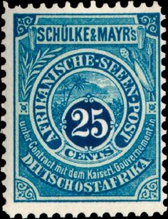 German East Africa 1892. Private Shipmail. Schülke & Mayr. 25 Cents
