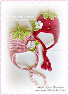 SPECIAL Crochet STRAWBERRY Beanie Earflap Hat and di AngelsChest, $9.99