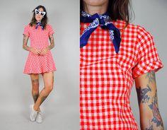 vtg 70's red GINGHAM plaid mini DRESS drop waist MOD picnic 60's plaid summer