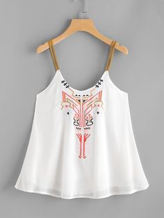 Casual Women Embroidery Cami Top Sleeveless Crop Top Vest Tank Shirt Tie Clothing 2017 Vintage O Neck Satin Camisole Plus Size Crop Top Styles, Cropped Tops, Cami Tops, Satin Tank Top, Estilo Hippie, Casual Tops For Women, Ladies Tops, Sleeveless Crop Top, Fashion Outfits