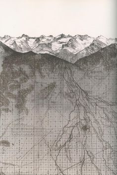 "alexqgb: "" Matthew Rangel Stronghold - Due East from Moro Rock (lithograph, Via a transect–Due East "" Architecture Mapping, Architecture Graphics, Architecture Drawings, Landscape Architecture, Moro Rock, Bel Art, Photocollage, Landscape Drawings, Map Design"