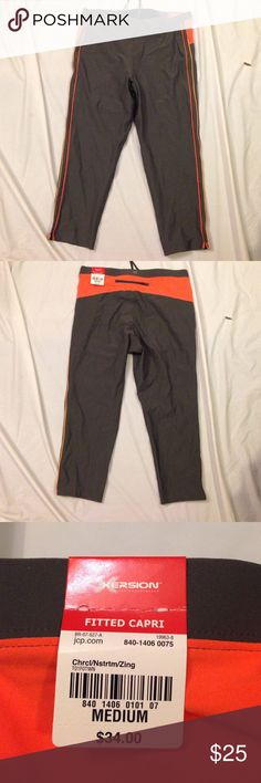 Fitted Capris orange and grey NWT Capri workout pants from JC Penney xersion Pants Capris