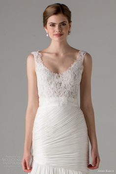 anne barge bridal fall 2015 olivia sleeveless mermaid wedding dress scoop neckline ruched skirt close up bodice straps