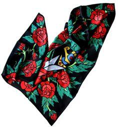 """""""Femme Fatale"""" - Silk scarf, 100% silk classic carré 90cm (36"""" square) #silkscarf #silkscarves #designersilkscarves #designerscarf #tattoo #tattooart #tattoofabric #tattoomotif"""