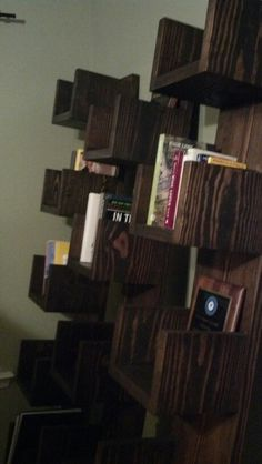Leaning cubby shelves