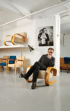 The stools in the studio are designed by Alvar Aalto. Design enthusiast and Alvar Aalto expert Juhani Lemmetti has transitioned his love of vintage Finnish furniture into a thriving furniture shop in Helsinki.