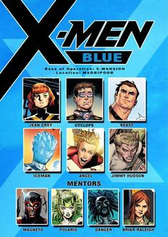 X-men blue: Members and Mentors (without Bloodstorm) X Men, Marvel Facts, Marvel X, Comic Book Pages, Comic Books Art, Marvel Universe, Superhero Groups, Marvel And Dc Characters, Absolute Power