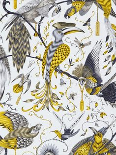 This stunning Audubon Wallpaper is part of the Emma J Shipley Animalia collection and would make a unique feature in your home. The design features a collection of detailed hand-painted style tropical birds and insects on trailing branches, in tones of grey and yellow with metallic gold touches. This is set on a matte white background. Easy to apply, this wallpaper will look great when used to decorate a whole room or to create a feature wall.