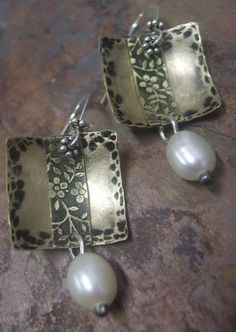 Antiqued Brass Sterling Silver by ThePurpleLilyDesigns