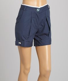 Look what I found on #zulily! Nay-ked Navy Pleated Button Shorts by Nay-ked #zulilyfinds