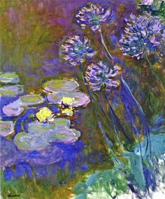 Water Lilies and Agapanthus, 1917 by Claude Monet. Impressionism. flower painting
