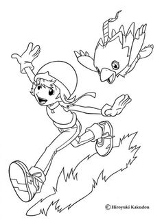 Biyomon Coloring Page Sora Playing With More Digimon Sheets On