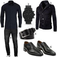 Schwarzes Outfit für Herren mit Eterna Hemd, schmalem Ledergürtel, Infaltion Jacke, Fossil Armbanduhr, A. Salvarini Jeans und Gordon & Bros Oxford Schuhen.