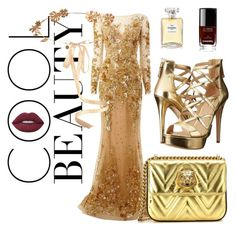 """""""LOOK GOLD #11"""" by marleen16 ❤ liked on Polyvore featuring Zuhair Murad, GUESS, Gucci, Lime Crime, Chanel and Eugenia Kim"""