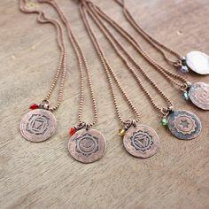 Chakra necklace  healing jewelry  Yoga jewelry by wirefoxjewellery