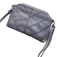 Women Handbag Solid Color Leather Geometric Shoulder Bag Girl Vintage Messenger Bag Malas De Mulher #7516
