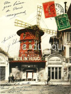 Antique French MOULIN ROUGE antique photography poster from a vintage postcard - stamps, french writing, Paris, cabaret France, Monuments.