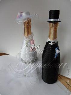 Украшение свадебного шампанского. Мастер-класс