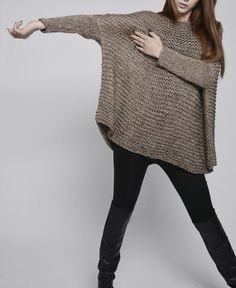 OVERSIZED Woman sweater/ Knit sweater in Mocha-W20 от MaxMelody