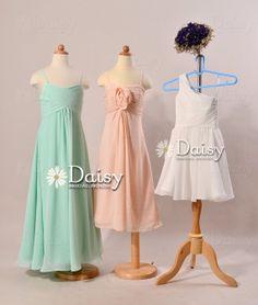 Mint Junior bridesmaid dress,Mint Flower girl Dresses,Peach Chiffon Girl Dress,White Junior Girl dress,Flower Girl Dress,Wedding Party Dress on Etsy, $73.00