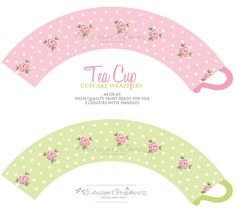 Tea Cup Printable Cupcake Wrappers - Tea Party Polka Dot Rose Design (Option 1) (Choose your colours). $6.50, via Etsy.
