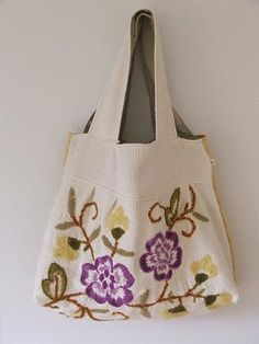 Bag using upcycled wool embroidery piece