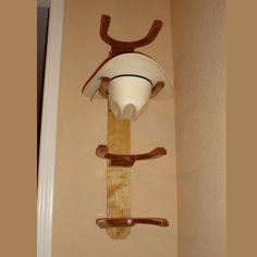 Wooden Cowboy Western Hat Rack 4 Hook Vertical Wall Mount