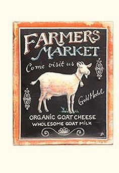 New Primitive Country Farmers Market Organic Cheese Milk GOAT SIGN Plaque #Vintage