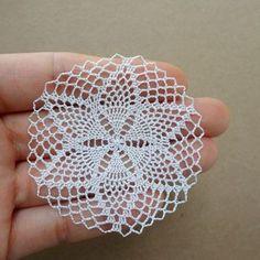 Diy Crafts - Miniature crochet round doily cm dollhouse by MiniGio Crochet Doily Patterns, Lace Patterns, Crochet Squares, Thread Crochet, Crochet Designs, Crochet Doilies, Crochet Flowers, Crochet Lace, Crochet Stitches